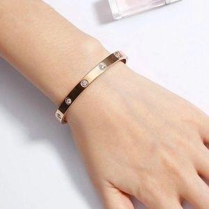 New 18k Rose Gold Round Diamond Bangle Bracelet